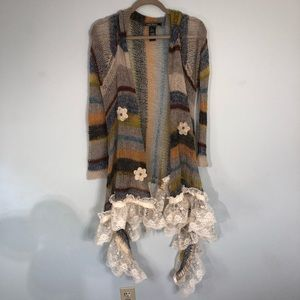 LOVE STITCH Mohair & Nylon Sweater Size Small